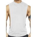 Stylish Mens Tank Plain Crew Neck Cut Out Side Relaxed Tank Top