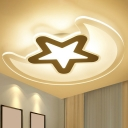 Clear Moon and Star LED Flush Light Nordic Acrylic Flush Mount Ceiling Light Fixture