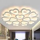 Loving Heart Shaped Semi Flush Mount Minimalist Acrylic White LED Ceiling Light Fixture