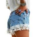 Womens Trendy Unique Lace Trimmed Slim Fit Hot Pants Denim Shorts