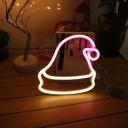 Kids Christmas Hat Shaped Night Lighting Plastic Childrens Bedroom Battery LED Wall Lamp in White