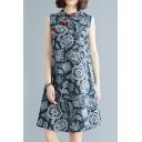 Trendy Women's Swing Dress Floral Pattern Horn Button Mock Neck Sleeveless Relaxed Fit Knee Length Swing Dress
