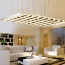 Parallel Crystal Pole Chandelier Novelty Simple Stainless Steel LED Ceiling Pendant Light