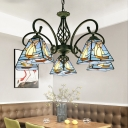 Stained Glass Pyramidal Chandelier Tiffany Bronze Pendant Light Kit with Scroll Arm