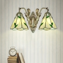 Bronze Finish Mermaid Wall Lighting Tiffany Metal Sconce Light with Bell Stained Glass Shade