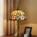 Tiffany-Style Domed Night Table Lamp 1-Light Handcrafted Art Glass Nightstand Light