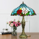 3-Head Pull Chain Nightstand Light Tiffany Jeweled Stained Glass Table Lamp in Blue