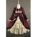 Fancy Women's A-Line Dress Patchwork Ruffle Hem Bow Tie Long Flare Cuff Sleeves Midi A-Line Dress