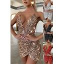 Party Womens Dress Plain Sequins Bling Bling Deep V-neck Short Tulip Cami Dress