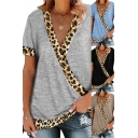 Basic Women's Tee Top Contrast Leopard Trim Wrap Front Short Sleeves Regular Fitted T-Shirt