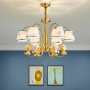 Empire Shade Pendant Lamp Kids Fabric Gold Plated Chandelier with Animal Statuette