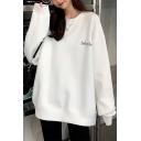 Women's Simple Letter Print Long Sleeve Round Neck White Relaxed Fleece Longline Sweatshirt