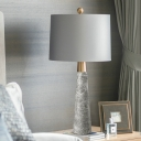 Conical Marble Night Table Light Minimalism 1 Bulb Grey Nightstand Lamp with Cylinder Fabric Shade