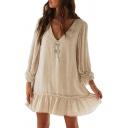 Trendy Womens Dress Linen and Cotton Long Sleeve V-neck Button Up Plain Ruffled Short Swing Dress