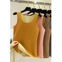 Leisure Women's Tank Top Solid Color Round Neck Sleeveless Slim Fitted Cami Top