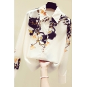 Fancy Women's Shirt Floral Pattern Button Fly Point Collar Long Sleeves Regular Fitted Shirt Blouse