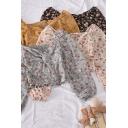 Fancy Women's Shirt Blouse Floral Pattern Twist Front Long Puff Sleeve V Neck Regular Fitted Shirt Blouse