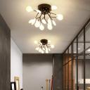 Branch Living Room Flush Mount Chandelier Metal Nordic Style LED Semi Flush Light Fixture in Black