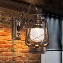 1-Light Lantern Wall Sconce Lighting Nautical Clear Glass Wall Mounted Fixture for Garage