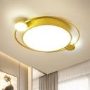 Metal Round LED Flush Mount Ceiling Fixture Minimalism Gold Flush Light with Acrylic Shade