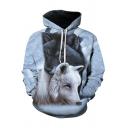 Casual Men's Hoodie Wolf Digital 3D Print Front Pocket Long Sleeve Drawstring Hooded Sweatshirt