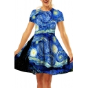 Pretty Womens Dress Oil Painting Print Short Sleeve Crew Neck Short A-line Tee Dress