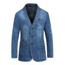 Fashion Men's Raw-Edge Notched Lapel Double Button Long Sleeve Blue Washed Denim Blazer Sport Jacket Suit