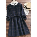 Cute Womens Dress Plaid Print Long Sleeve Patched Mock Neck Drawstring Waist Short A-line Dress in Dark Blue