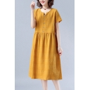 Elegant Women's A-Line Dress Solid Color Button Detail Round Neck Short Sleeves Regular Fitted Midi A-Line Dress