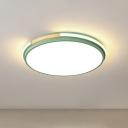Macaron Circular Flush Ceiling Light Acrylic Bedroom LED Flush-Mount Light Fixture