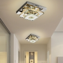 Geometric Hallway Semi Flush Mount Light Crystal LED Close to Ceiling Lamp in Stainless Steel
