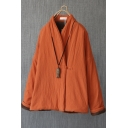Chinese Style Coat Plain Linen and Cotton Long Sleeve Surplice Neck Frog Button Relaxed Coat