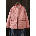 Fashion Girls Coat Tape Panel Quilted Long Sleeve Press Button Relaxed Coat