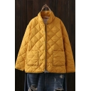Simple Womens Coat Quilted Solid Long Sleeve Stand Collar Press Button Relaxed Fit Coat