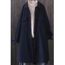 Womens Vintage Coat Corduroy Plain Long Sleeve Spread Collar Button Up Longline Loose Coat