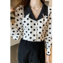 Trendy Ladies Shirt Polka Dot Printed Long Sleeve Notched Collar Button Up Loose Shirt Top in Apricot