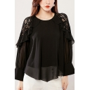 Simple Womens Shirt Plain Sheer Lace Patched Long Sleeve Round Neck Asymmetric Hem Relaxed Shirt Top in Black
