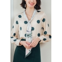 Womens Elegant Blouse Chiffon Polka Dot Print Long Sleeve Tied Neck Relaxed Blouse in Apricot