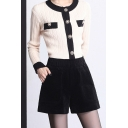Stylish Womens Shorts Corduroy Solid Color High Rise Wide-leg Shorts