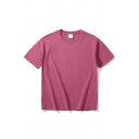 Fancy Men's Tee Top Solid Color Round Neck Short Sleeves Relaxed Fit T-Shirt