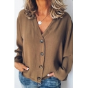 Fancy Women's Shirt Blouse Solid Color Button Closure Long Sleeves Regular Fitted Shirt