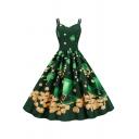 Amazing Girls Dress Spaghetti Straps Sweetheart Neck St.Patrick Printed Midi Swing Pleated Cami Dress in Green