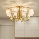 Kids Style Animal Chandelier Resin Childrens Bedroom Ceiling Hang Light with Empire Shade and Gold Arm
