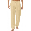 Men's Hot Fashion Simple Plain Drawstring Waist Linen Wide Leg Pants