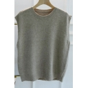 Trendy Women's Knit Vest Plain Ribbed Trim Round Neck Sleeveless Relaxed Fit Knit Vest