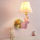 Unicorn Sconce Lighting Fixture Kids Resin 1-Light Bedroom Wall Mounted Lamp with Tapered Lampshade