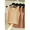 Casual Women's Tank Top Solid Color Round Neck Sleeveless Slim Fitted Bottoming Cami Top