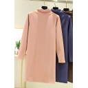 Trendy Women's Sweatshirt Dress Solid Color Mock Neck Long Sleeves Knee Length Sweatshirt Dress