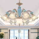 Traditional Ruffled Shade Lamp Frosted Carved Glass Lighting in Blue for Living Room