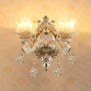 Floral Wall Light Vintage Gold Faux Jade Wall Lamp Sconce with Clear Crystal Drop